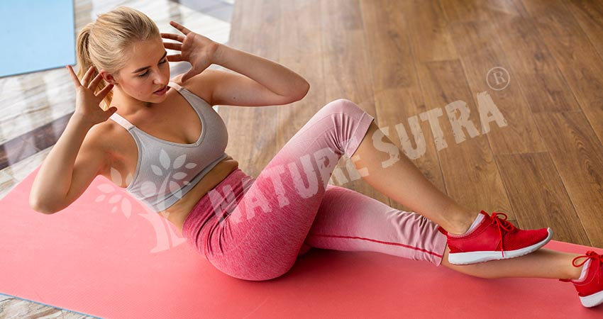 Bicycle Crunches Workout by Girl